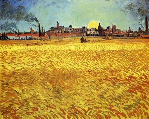 梵高 Van Gogh Vincent - Summer Evening Wheatfield with Setting Sun