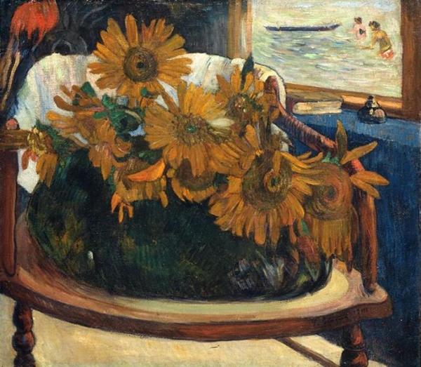 高更 Gauguin - 扶手上的向日葵