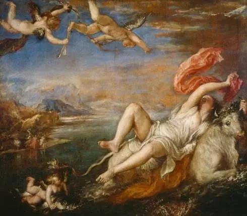 提香,欧罗巴的掠夺,现藏于伊莎贝拉博物馆