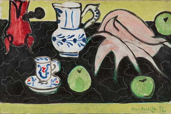 马蒂斯,《黑色大理石上的贝壳和静物》,1940年,其中左上的咖啡壶在马蒂斯作品中多次出现