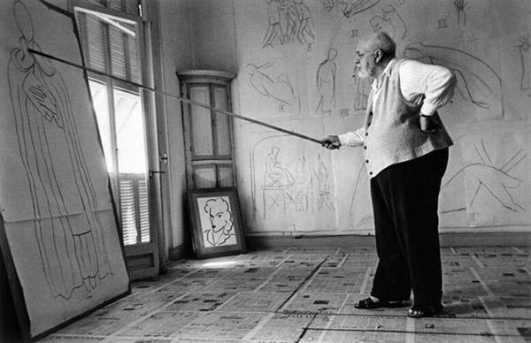 马蒂斯在工作室,1949年,摄影:Robert Capa