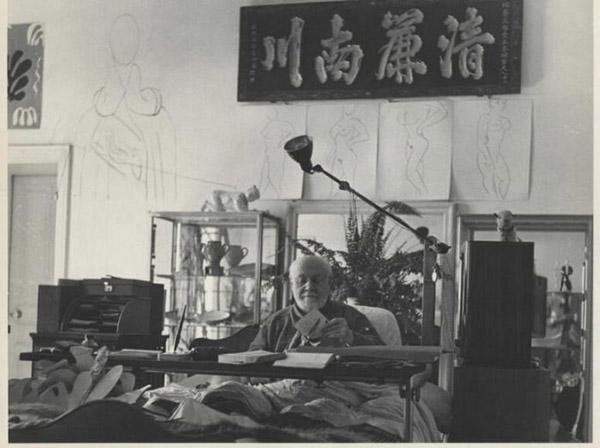 马蒂斯工作室,1951年,摄影:Philippe Halsmann