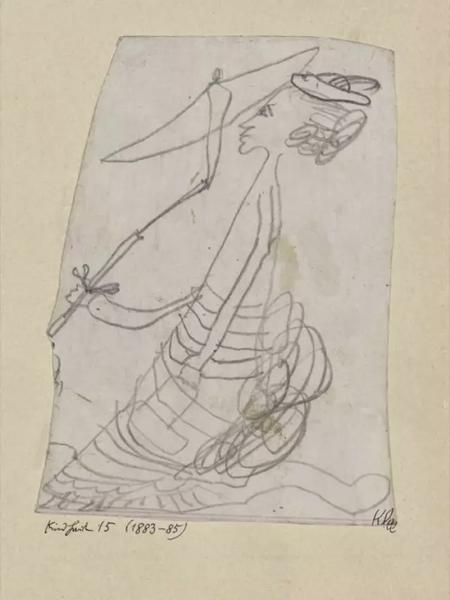 女人和伞,由4-6岁的保罗·克莱(Paul Klee)在1883-1885年间创作。
