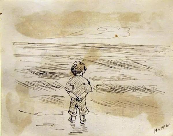 """这张作品是爱德华·霍普(Edward Hopper)在1891年10月23日的三年级报告卡背后画的,艺术家当时是9岁""""高龄""""。"""