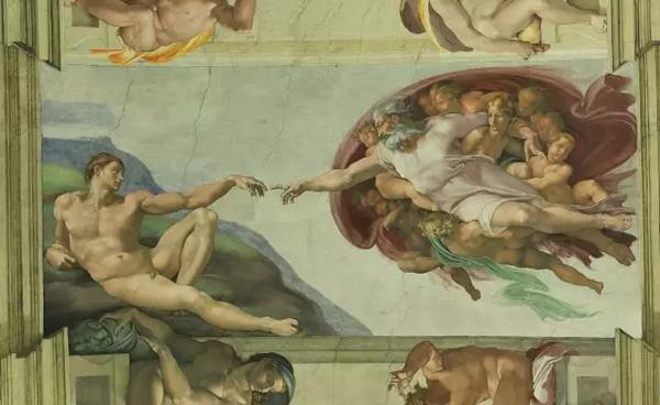 创造亚当 意大利 米开朗基罗 壁画 纵280×横570厘米 梵蒂冈西斯廷教堂
